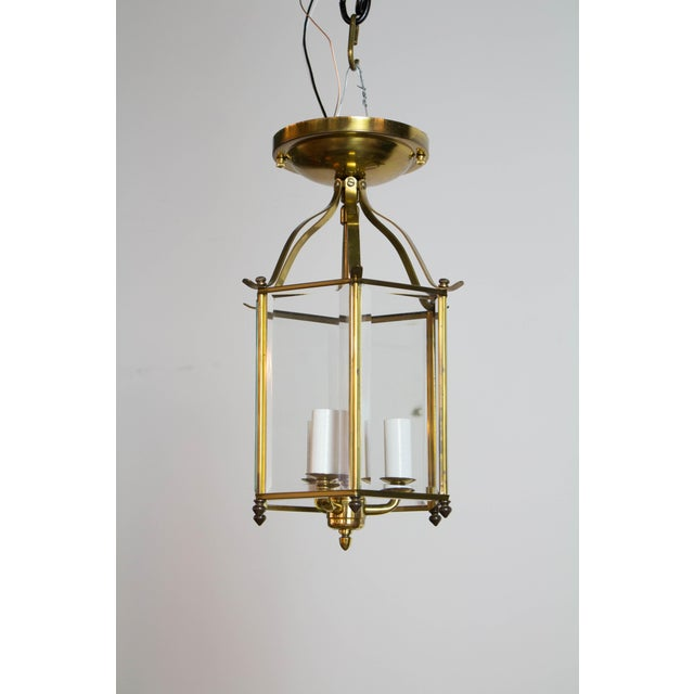 Hexagonal Beveled Glass Lantern. Flush Mount. Three light cluster. was been cleaned and completely rewired. Ready to hang....