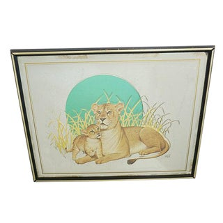 Vintage Glassiques by Murray Skoff Enterprises Mother & Baby Lion Mirror