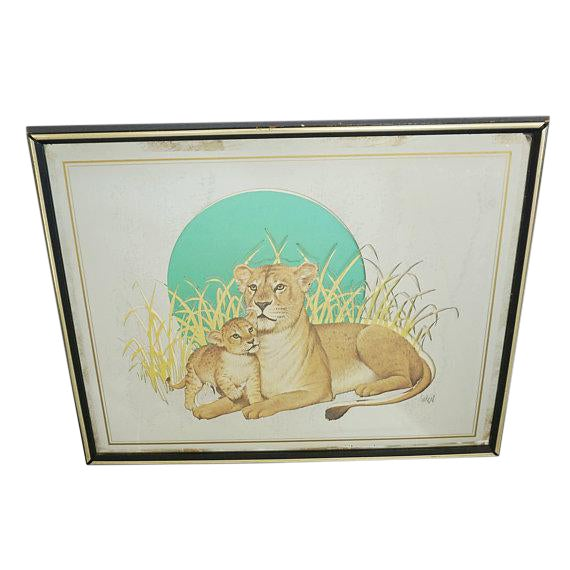 Vintage Glassiques by Murray Skoff Enterprises Mother & Baby Lion Mirror For Sale