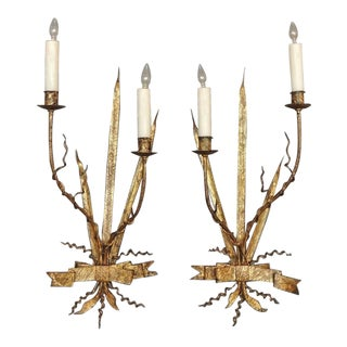 Pair of Early 20th C Spanish Organic Free Form Gilt Tole Sconces For Sale