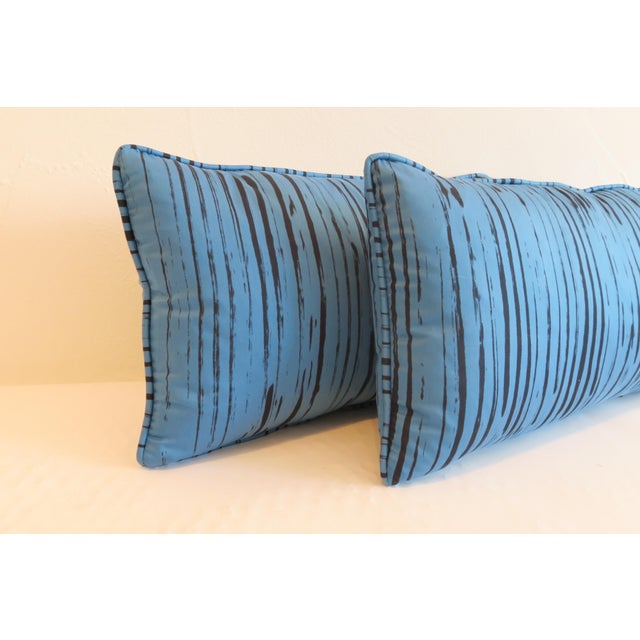 Modern Custom Blue Brushtroke Pattern Pillows- a Pair For Sale - Image 3 of 4