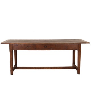 Rustic Italian Chestnut Trestle Dining Table For Sale