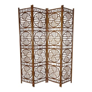 Chinoiserie Bamboo and Leather Folding Screen For Sale