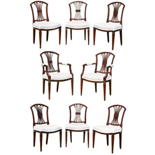 Set of Eight Dutch Neoclassic Mahogany Dining Chairs For Sale