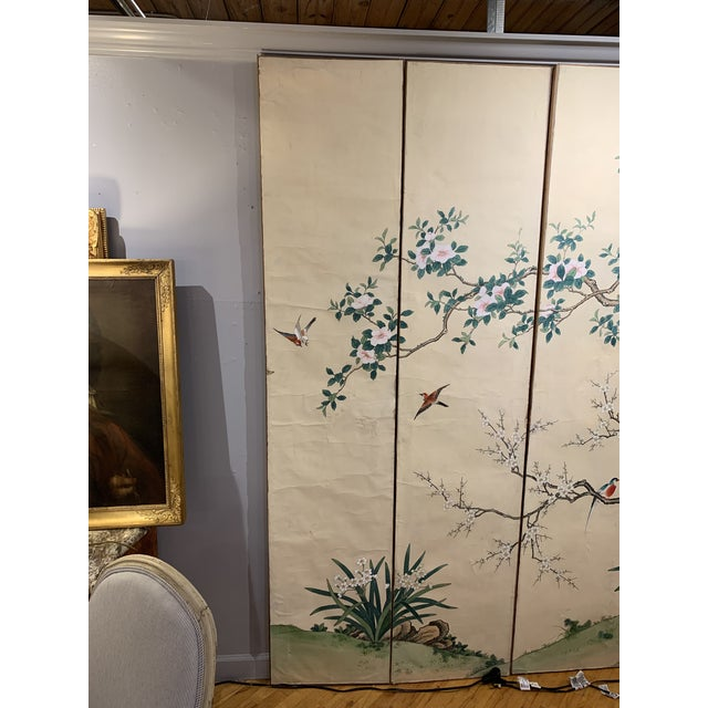 Ahhh the surprise when I spied this Loverly hand panted 6 panel screen in one of my favorite Brocantes in Toulouse. It was...