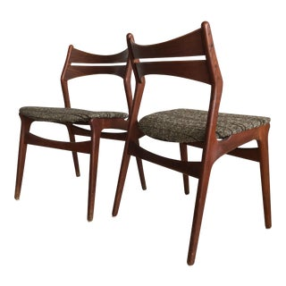 1960s Teak Danish Erik Buck Model 310 Dining Chairs - A Pair