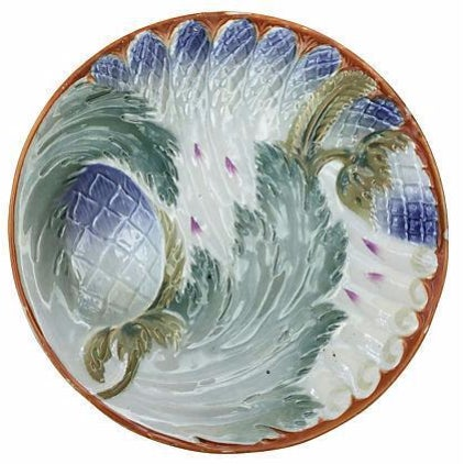 French Majolica Asparagus Plates - Set of 6 For Sale