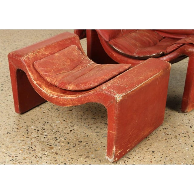 1960s Vintage Vittorio Introini for Proposals Distressed Rich Red P60 Leather Lounge Chair and Stool For Sale - Image 5 of 8