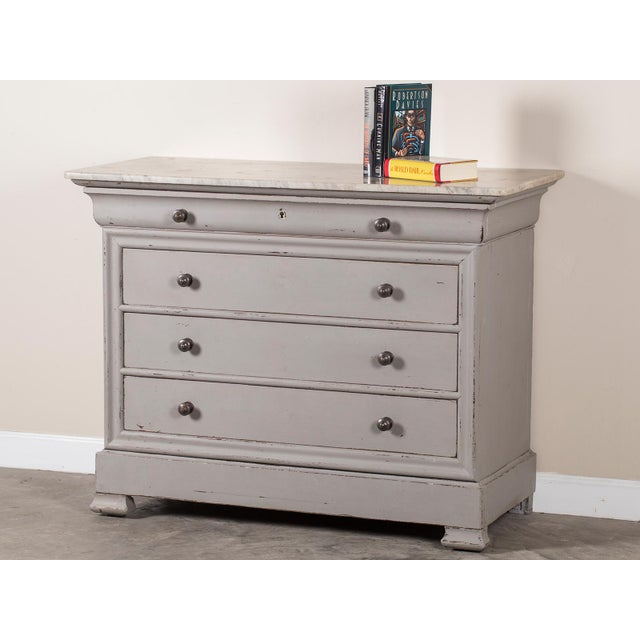 Antique French Painted Louis Philippe Chest of Drawers with a Marble Top circa 1850 For Sale - Image 9 of 11