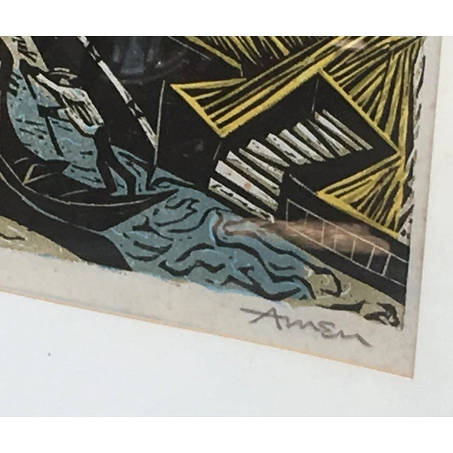 Mid Century Modern Irving Amen Woodblock Print of Venice For Sale - Image 4 of 10