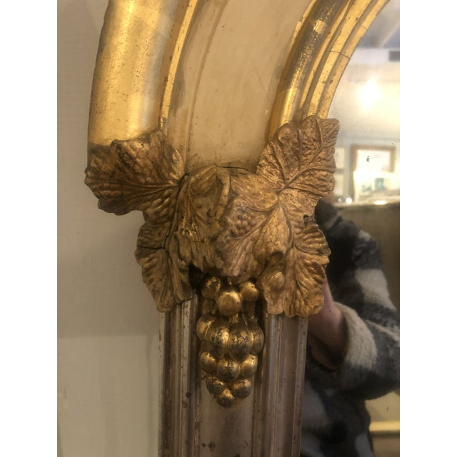 Wood Belle Époque Parcel-Gilt and Lemon Silver Arched Wall Mirror For Sale - Image 7 of 13