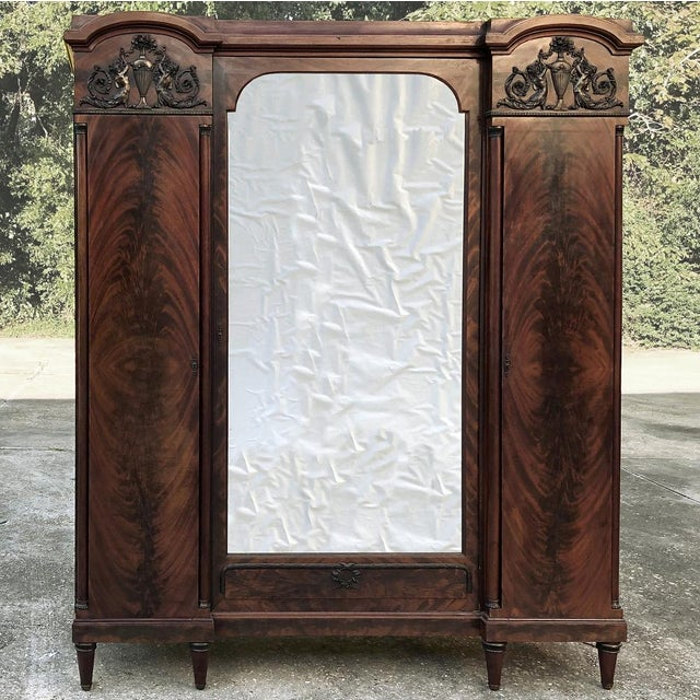 Antique French Neoclassical Mahogany Armoire For Sale - Image 4 of 13