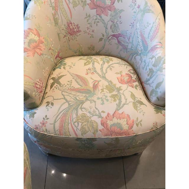 Lovely pair of vintage club longe chairs with there amazing original pastel, shimmery tropical bird upholstery. I had...
