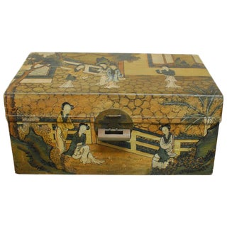Chinese Polychrome Pigskin Box For Sale