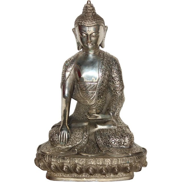 Metal Silver Plated Sitting Buddha For Sale - Image 7 of 7