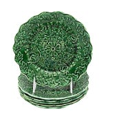 Antique Green Majolica Plates - Set of 6 For Sale