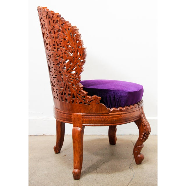 Anglo-Raj Carved Wood Side Lounge Chairs - a Pair For Sale In Los Angeles - Image 6 of 13