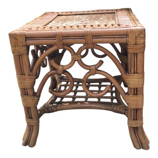 Vintage Bamboo Rattan Table For Sale