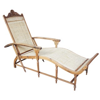 19th Century Vintage Anglo Indian Teak Carved Chaise For Sale