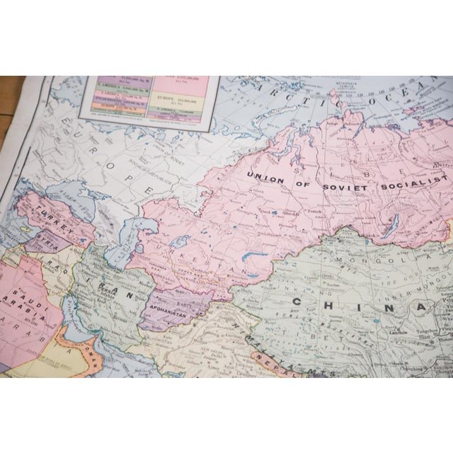 Vintage Cram's Pull Down Map of Asia and Australia For Sale - Image 4 of 5