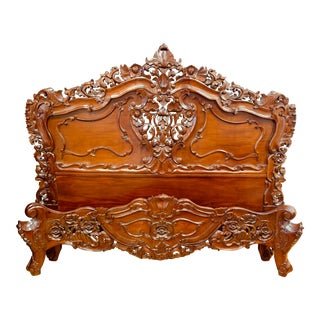 Rococo Carved Mahogany Queen Headboard and Footboard - 2 Pieces For Sale