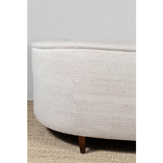 Vintage Curved Sofa With Pat McGann Workshop Upholstery Fabric For Sale - Image 10 of 11