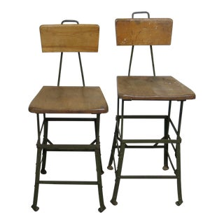 1920s Vintage Industrial Stools- A Pair For Sale