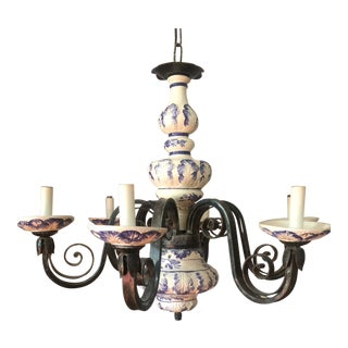 Delft Blue & White Wrought Iron Chandelier For Sale