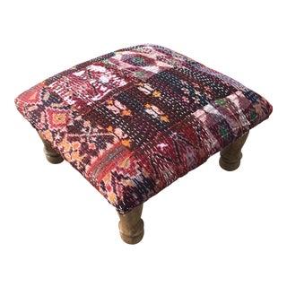 Modern Ikat Upholstered Foot Stool For Sale