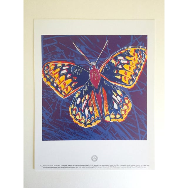 """Andy Warhol Andy Warhol Estate Rare Vintage 1992 Endangered Species Collector's Lithograph Pop Art Print """" San Francisco Silverspot Butterfly """" 1983 For Sale - Image 4 of 9"""