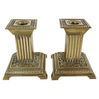 Antique Column Brass Candleholders - a Pair For Sale