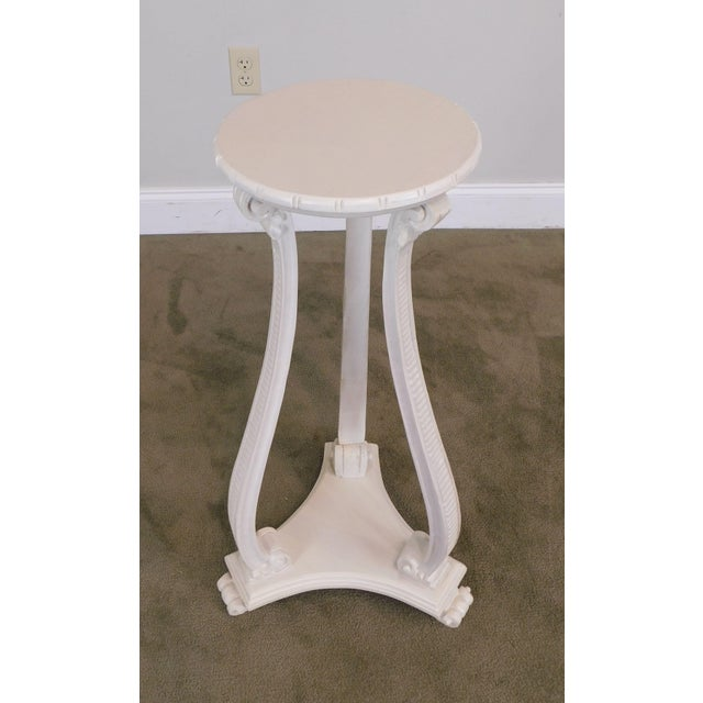 Hollywood Regency Vintage Pair White Washed Lacquer Italian Pedestals For Sale - Image 9 of 12