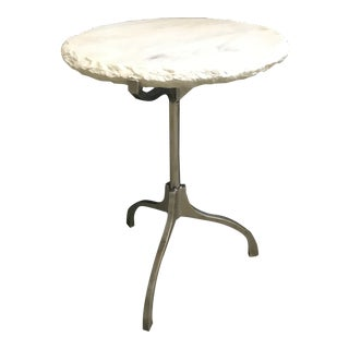 Contemporary White Marble Round Side Table For Sale