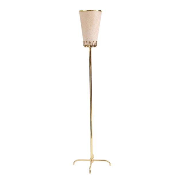 Decorative Brass and Parchment Italian Floor Lamp For Sale
