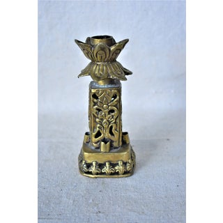 Vintage Asian Brass Lotus Leaf Candle Holder Preview