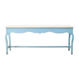 Rustic Country Pine Painted Console Table For Sale