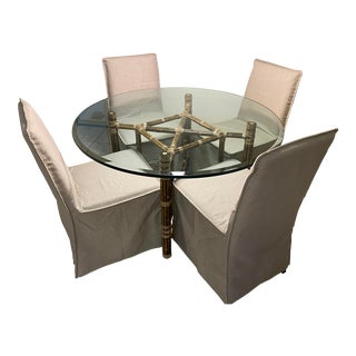 Beveled Glass Top Bamboo & Steel Dining Table & 4 Chairs For Sale