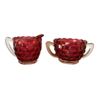 Vintage Red Creamer and Sugar Bowl - a Pair For Sale