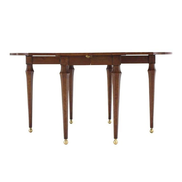 Brown Burl Wood Drop Leaf Dining Table on Brass Balls Feet For Sale - Image 8 of 8