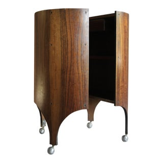 Rosewood Handmade Bar Cabinet on Casters Attr. To Henry Glass For Sale