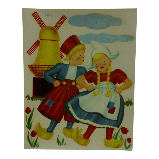 """1930s Vintage Decal / Wall Decoration """"Dutch Children"""" the Meyercord Co. Chicago For Sale"""