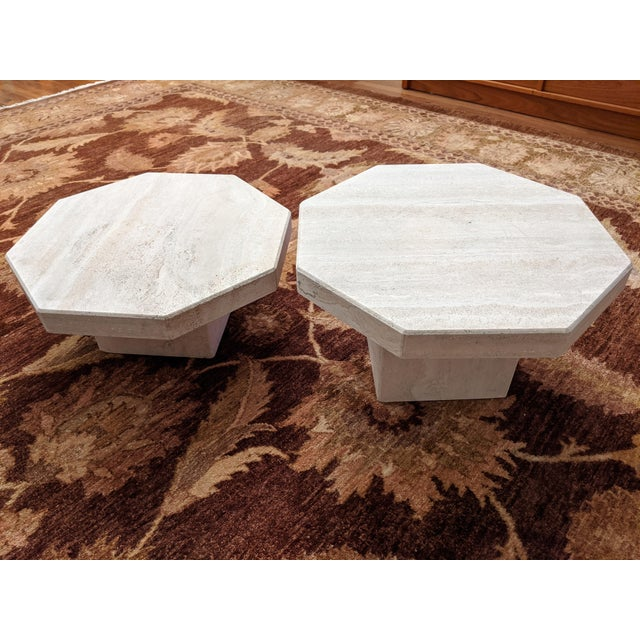 Stone 1970s Octagonal Travertine Low Tables - a Pair For Sale - Image 7 of 9