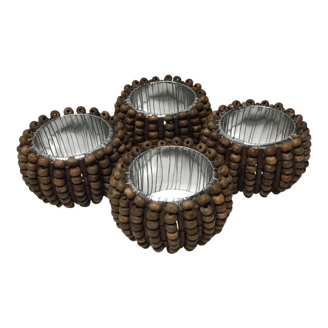 Mid-Century Wood Beads With Silver Lining Napkin Rings - 4 Pc Set For Sale
