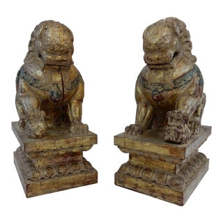 Antique Qing Dynasty Temple Foo Dogs - A Pair For Sale