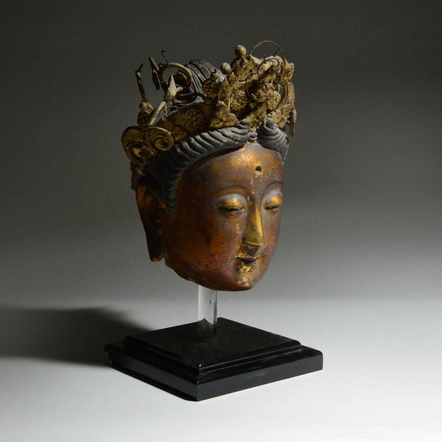 Please update measurements. Cast in exquisite detail, this sculpture of kuan-yin is applied with red and black lacquer and...