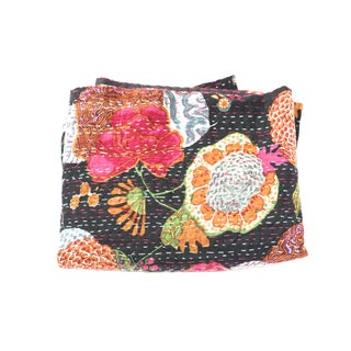 Black Floral Kantha Throw - A Full For Sale