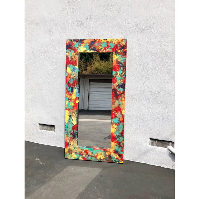 """Abstract Freeform Painted Custom Full Length Mirror - 37""""X 75"""" For Sale - Image 4 of 11"""