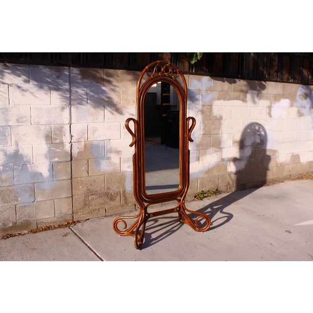 Mid Century Bent Rattan Cheval Mirror - Image 2 of 11
