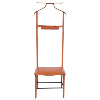 Jacques Adnet, Valet of Night, Orange Hermès Faux Leather and Iron Structure For Sale