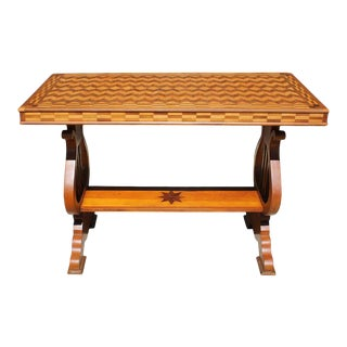 Parquetry Table With Harp/Lyre Supports For Sale